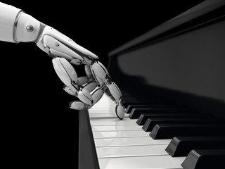 Robot hand presses the key on the piano, the machine learning technology. 3D illustration.