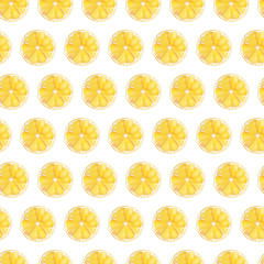 Watercolor hand drawn seamless pattern with yellow lemon. Can be used for printing on fabric and bag, decoration, wallpaper.