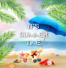 It's summer time background with palm trees and beach elements