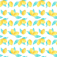 Watercolor seamless pattern of lemon fruit for fabric and printing.