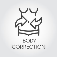Body correction line icon. Weight loss, abdominal massage, plastic surgery liposuction concept. Healthy lifestyle and cosmetology treatment. Silhouette of female figure. Graphic pictograph. Vector