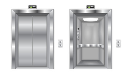 Elevator doors. Metal closed and open doors