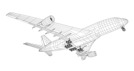 Passenger aircraft. 3d illustration