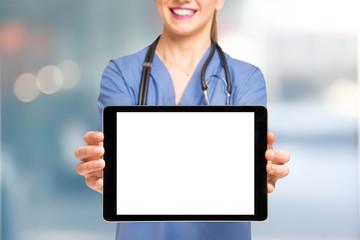 Nurse showing a tablet screen