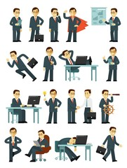 Set of businessman characters in different poses in flat style isolated on white background. Business man in situations office with gestures and actions