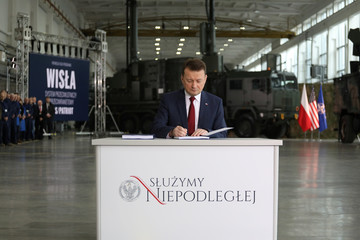 Polish Defence Minister Mariusz Blaszczak attends the signing ceremony for a deal to buy Raytheon Co'sPatriotmissiledefencesystem in Warsaw