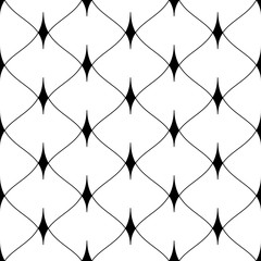 Black seamless grid background. Scales of fish, mermaids, dragons