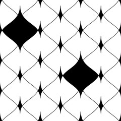 Black seamless grid background with black elements. Scales of fish, mermaids, dragons