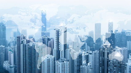 Modern urban skyline. Global communications and networking. World map. Cyberspace in big city. Stock markets. E-business and e-banking