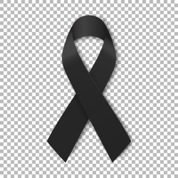 Black mourning ribbon on transparent background. Vector illustration