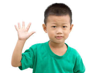 Asian child showing palm