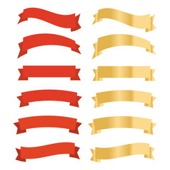 Flat vector ribbons banners isolated. Ribbons banners