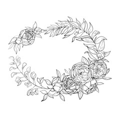 Vintage wreath of flowers and leaves