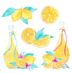 Hand painted watercolor set of lemon and olive oil on white background. Can be used for printing and decoration.