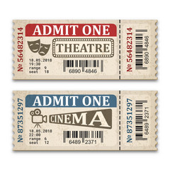 Cinema and theater tickets in retro style. Two admission tickets isolated on white background. Vector illustaration