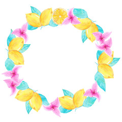 Watercolor hand painted lemon and bouganvillea flower round wreath. Perfect for invitations, decorations, cards, wallpapers.