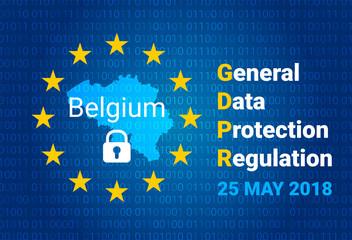 GDPR - General Data Protection Regulation. Map of Belgium, EU flag. vector