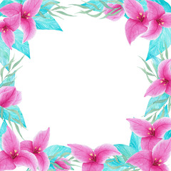 Watercolor hand drawn bouganvillea flower colorful frame border. Perfect for wedding invitations, decorations, cards.