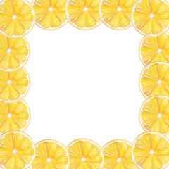 Watercolor hand drawn lemon fruit frame border. Perfect for wedding invitations, decorations, greeting cards.