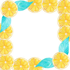 Watercolor handmade lemon frame border. Can be used for invitations, decorations, cards, wallpapers, menu.