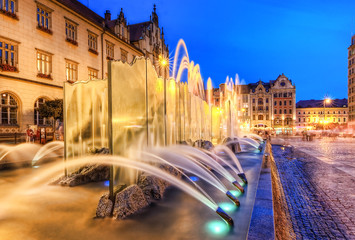 A beautiful fountain in the center of Wroclaw
