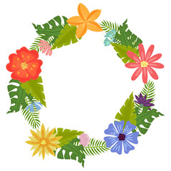 Wreath with tropical flowers and leaves doodle style, design for postcard and invitation. Vector
