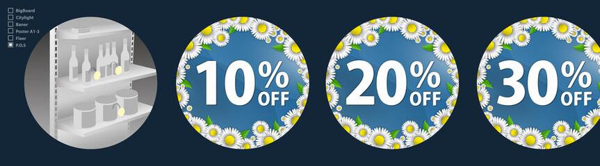 The design of the wobblers for the promotion is a spring sale of bright daisies on a sky blue background. Discount of 10, 20, 30 percent. Spring template for your design, cards, invitations, posters.