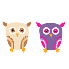 vector, isolated, cartoon owl, collection