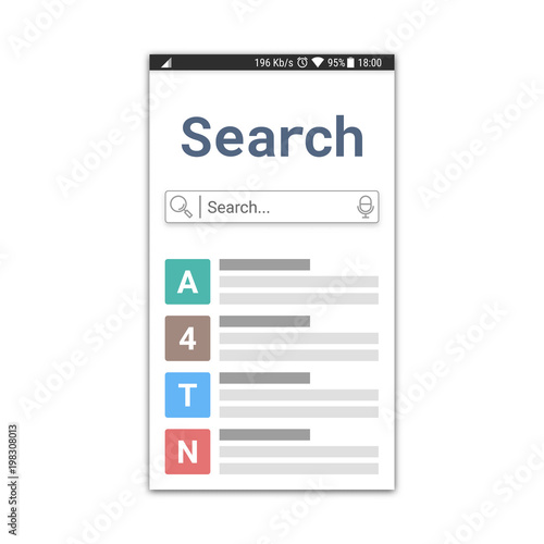 search application template or web browser window with search field