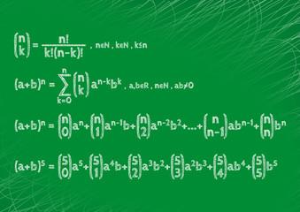 Theorem written by hand on a green board. Newton's formula.