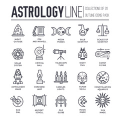 Astrology house thin line icons design illustration set. Flat outline horoscope items concept. Vector camera, lenses and other staff linear background