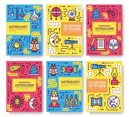 Astrology  thin line brochure cards set. Colorful template of flyear, magazines, posters, book cover, banners. Studying of stars outline invitation concept background. Layout quality modern pages