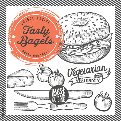 bagels restaurant menu vector sandwich food flyer for bar and cafe