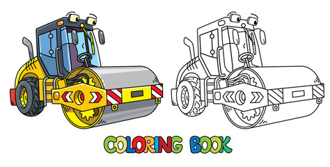 Funny asphalt compactor car with eye coloring book