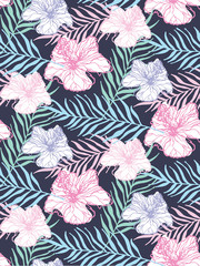 Hand drawn doodle tropical leaves pattern