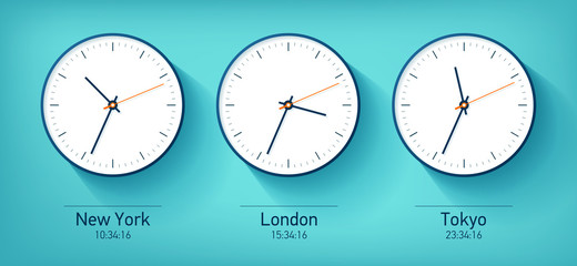 World time. Realistic simple Clock icons. New York, London, Tokyo. Watch on green blue background. Business illustration for you presentation. Vector design objects.