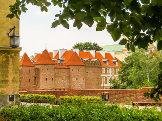 Barbican fortress in the historic center of Warsaw, Poland