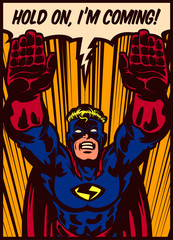 Pop art comic book style superhero flying to the rescue vector poster design illustration