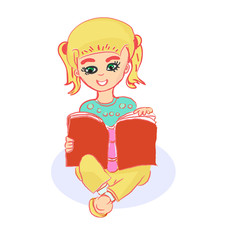 Girl reading book illustration, modern vector