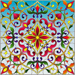 Garden Poster Moroccan Tiles Illustration in stained glass style, square mirror image with floral ornaments and swirls