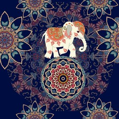 Seamless ethnic pattern with mandala flowers and indian elephant on the ball. Print for fabric.
