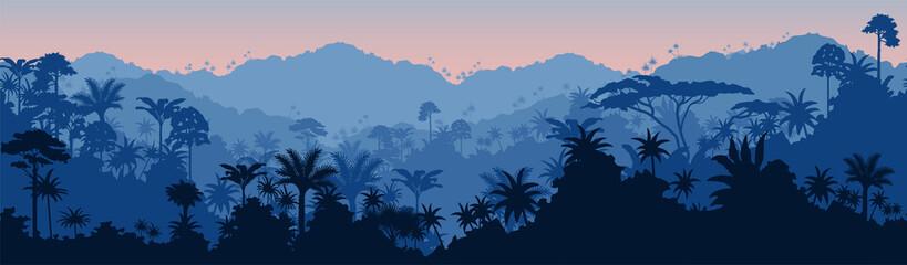 Poster Bleu nuit Vector horizontal seamless tropical rainforest Jungle background
