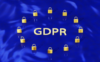 GDPR Gold Padlocks forming EU flag and letters GDPR