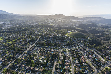 Aerial view of suburban Thousand Oaks and Newbury Park neighborhoods near Los Angeles, California.