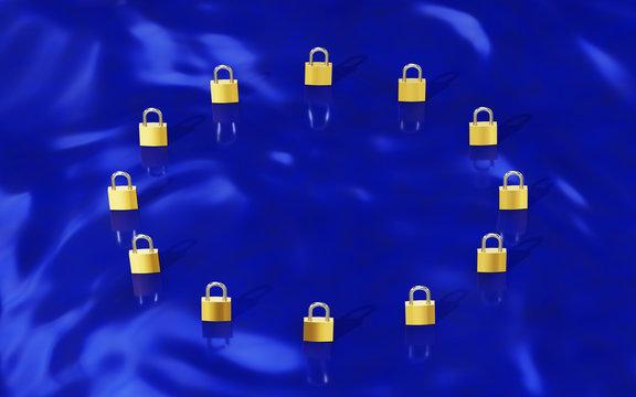 GDPR Gold Padlocks forming EU flag