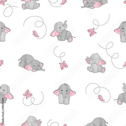 Cute Cartoon Elephants And Butterflies Seamless Vector Pattern Baby Print