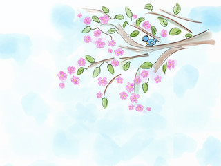 Watercolor illustration to springtime with bird and salura blossom tree