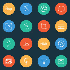 Image icons line style set with dartboard, image, lightning and other add a photo
