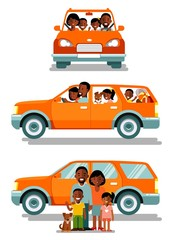 Happy african american ethnic family traveling by car in different views front and side. People set father, mother and children sitting in automobile and standing together.