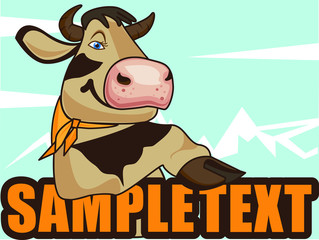 Funny, happy, beautiful cow on the background of blue mountains. Vector illustration.